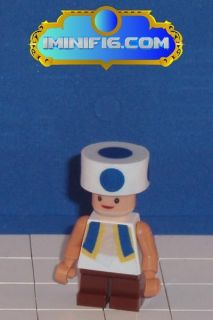 Custom LEGO Super Mario game figure Toad (blue)