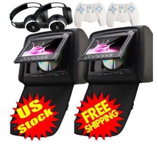 2x 7Dual Twin Screen Car Pillow Headrest DVD Player IR Free