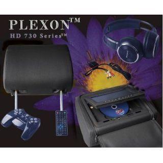 Black 2 Headrest DVD Player 7LCD Screen Game System Disk Wireless