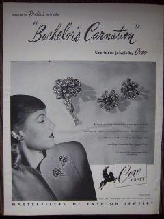 Vintage Coro Craft Bachelors Carnation Pin Brooch earrings JEWELRY Ad
