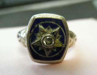 Vtg 14K Gold DIAMOND Masonic Eastern Star Enamel Ring