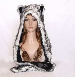 Faux Fur Wolf Full Animal Hood Hoodie Hat with Scarfs and Mitten 3 in