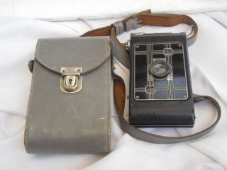 Vintage Eastman Jiffy Kodak six 20 Folding Camera w Leather Case