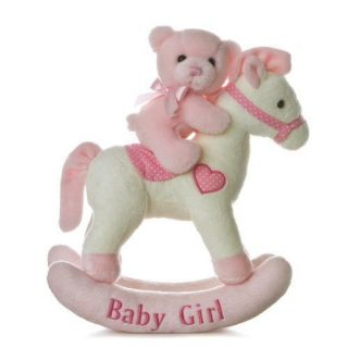 Aurora Baby 12 Plush Musical Wind Up PINK Rocking Horse & Teddy Bear
