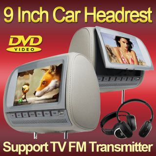 Color Gray DUAL UNIT CAR STEREO HEADREST DVD PLAYER RADIO USB SD FREE