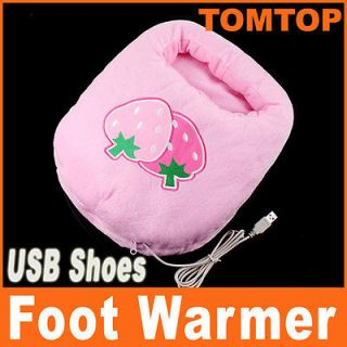 Plush USB Foot Warmer Shoes Electric Heat Slipper Cute Pink Strawberry