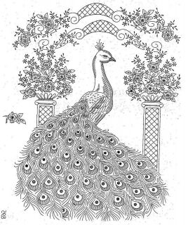Embroidery Pattern 895 Elegant Peacock for Bedspread or Picture 1960s