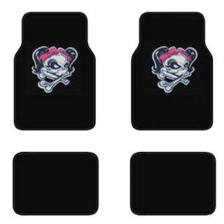4pc Lady Skull Girl Skeleton Pink Bow Black Carpet Car SUV Floor Mat