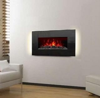 Electric Wall Mounted Fireplace Heater 36 Crystal Black Glass w/LED