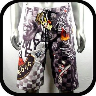 Minute Mirth Shorts Trunks Skate Board Tattoo K1 Sz 32 bmx Surf
