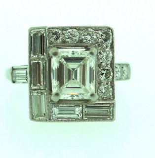 CTS PLATINUM EDWARDIAN EMERALD CUT DIAMOND ENGAGEMENT RING BAND UNIQUE