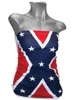LG REBEL FLAG TUBE TOP   LADIES CONFEDERATE SHIRT   New   large Dixie