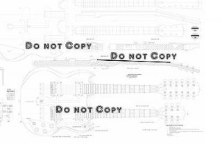 EDS1275® Double Neck Guitar Plan  Actual Size   full scale drawing