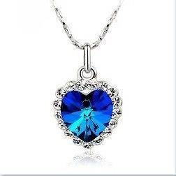 LOVE Forever HEART OF THE OCEAN NECKLACE Czech Blue CRYSTAL HEART
