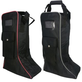 BLACK EQUESTRIAN HORSE RIDING SHOWING JUMPING LONG BOOT BAG WELLYS