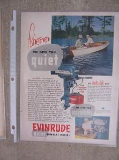 1955 Evinrude Fastwin Fishing Outboard Motor Ad 15 HP Auto Lift Hood