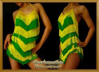 Green Yellow Salsa SAMBA Latin FRINGE Swing dance dress