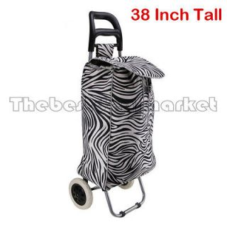 Rolling Shopping Cart Laundry Grocery Basket 2 Wheel Canvas Bag