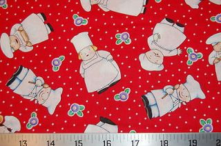 VIP Fabric Kitchen Capers Chef Chefs on Red White Dot Rolling Pin
