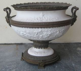 Barbedienne Bronze & Bisque French Centerpiece Bowl