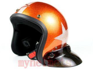 Metal Flake Orange Open Face Old School Scooter Motorcycl Helmet M L