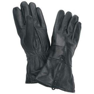 Black Solid Leather Motorcycle Biker Riding Gloves Zippered Cuff Large