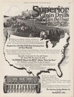 FA 1916 SUPERIOR GRAIN DRILL FARM PLOW HORSE SEED PLANT GROW CROP