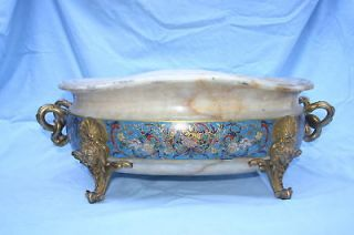 Barbedienne 19C French Champleve Bronze Onyx Bowl