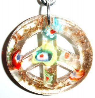 LIGHT LAMP CEILING FAN PULL PEACE SIGN GLASS CLEAR GOLDSAND 40MM
