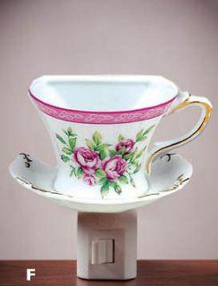 Night Light   Shabby Chic Rose Cup & Saucer (NL035)
