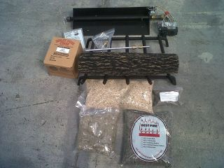 New 24 Vented PROPANE Gas Log Single Burner Hearth Kit Fireplace Set