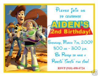 10 Toy Story 2 Buzz Woody Personalized Invitations SetB