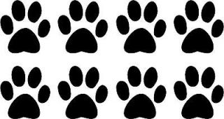 Set of 8 Dog Paw Prints Decals 1.5 choose color
