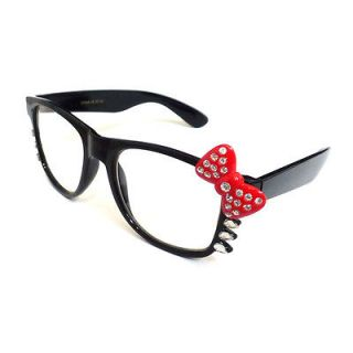 CUTE HELLO KITTY NERD Eye Glasses BLACK Frame with Bling Rhinestone