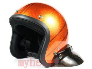 Orange Old School Metal Flake Open Face Helmet Scooter Motobike
