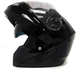 BLACK FULL FACE MODULAR MOTORCYCLE FLIP UP HELMET DUAL SHIELD SMOKE