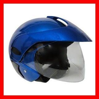 Scooter Open Face Street Helmet DOT Flip Up Shield BLUE LARGE