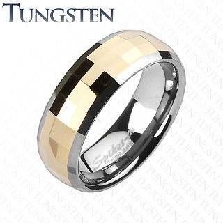 Square Faceted Rose Gold Tungsten Wedding Ring Size 5,6,7,8 (f115