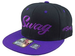 NEW VINTAGE SWAG FLAT BILL SNAPBACK BASEBALL CAP HAT BLACK/PURPLE