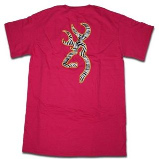Dark Pink Browning Buckmark T Shirts   Logo Color Yellow Outline 3 D