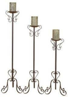 Newly listed Wrought Iron Floor Candle Holders Set Tall Standing New