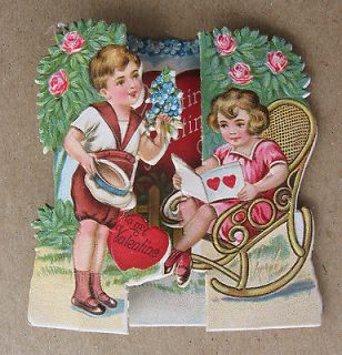 Cut Embossed Fold Out Valentines Card Roses Wicker Rocking Chair c