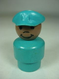 Vintage Fisher Price Little People Turquoise Wooden Pilot Airport