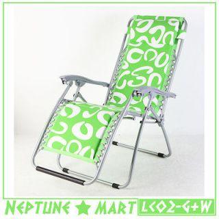 GREEN & WHITE Folding Lounge Chair Leisure Beach Recliner W/Pillow NIB