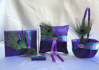 Peacock Feather Purple Flower Girl Basket Ring Pillow Guest Book Pen