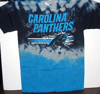 CAROLINA PANTHERS NFL FOOTBALL HORIZONTAL STENCIL TIE DYE T SHIRT