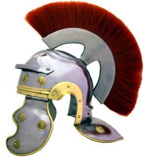 Roman Centurion Helmet Red Plume Authentic Replica