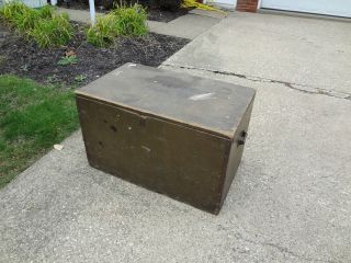 Vintage Military WWII World War 11 Foot Locker Wood Trunk Table