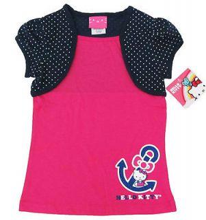 HELLO KITTY Girls Navy Blue Polka Dot Shrug & Pink Shirt NWT