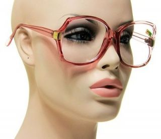 New Retro Optical Reading Glasses Transparent Pink With Gold